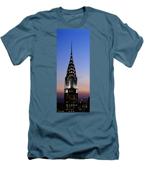 Building Lit Up At Twilight, Chrysler Men's T-Shirt (Slim Fit) by Panoramic Images