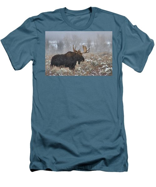 Men's T-Shirt (Slim Fit) featuring the photograph Bull Moose In The Fog by Adam Jewell