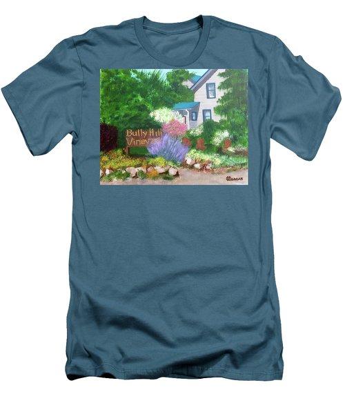 Men's T-Shirt (Slim Fit) featuring the painting Bully Hill Vineyard by Cynthia Morgan