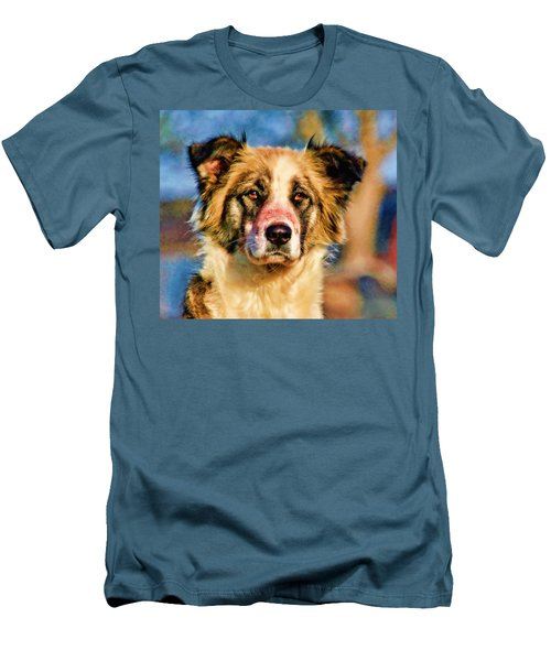 Buster Dog Viewing The Sunset Men's T-Shirt (Slim Fit) by Lucky Chen