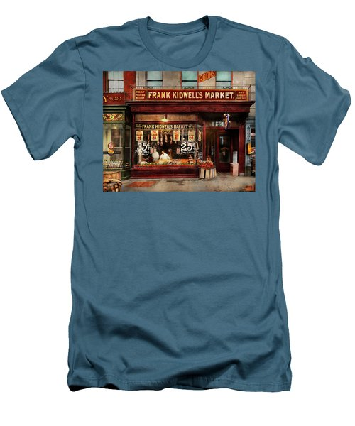 Men's T-Shirt (Slim Fit) featuring the photograph Butcher - Meat Priced Right 1916 by Mike Savad
