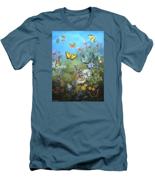 Butterflies And Wildflowers Of Wyoming Men's T-Shirt (Slim Fit) by Dawn Senior-Trask