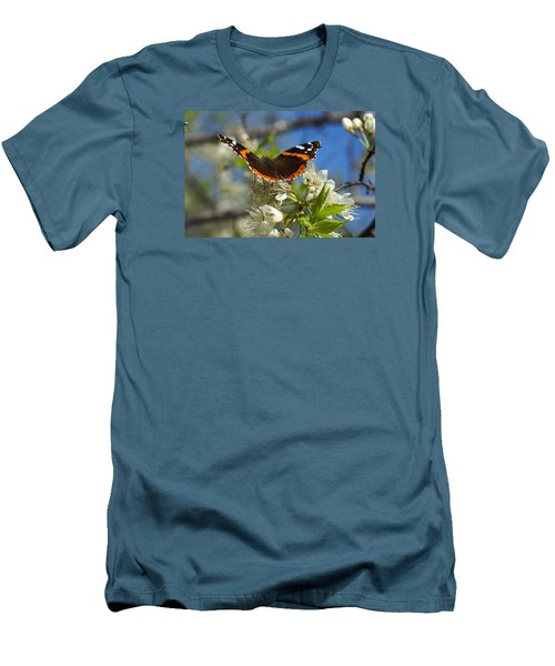 Men's T-Shirt (Slim Fit) featuring the photograph Butterfly On Blossoms by Steven Clipperton