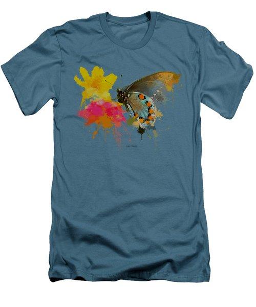 Butterfly On Lantana - Splatter Paint Tee Shirt Design Men's T-Shirt (Athletic Fit)