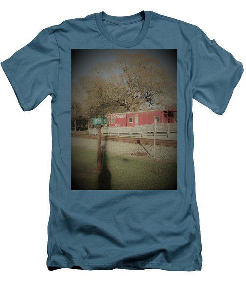 Men's T-Shirt (Athletic Fit) featuring the photograph Byron Town By The Tracks by Aaron Martens