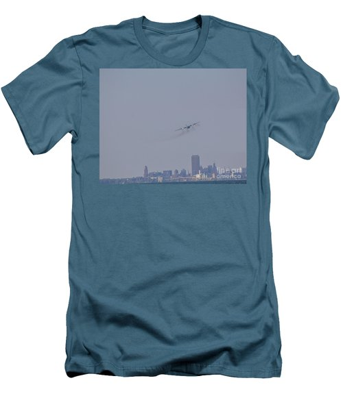 C130 Over Buffalo Men's T-Shirt (Slim Fit) by Jim Lepard