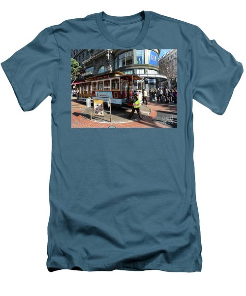 Cable Car At Union Square Men's T-Shirt (Slim Fit) by Steven Spak