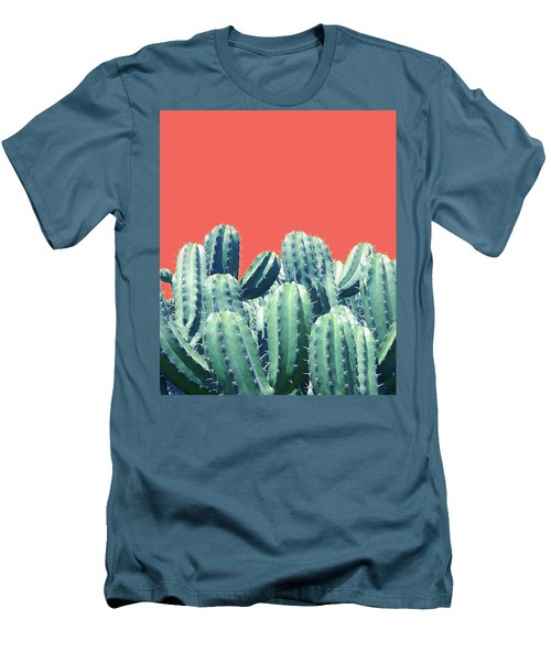 Cactus On Coral Men's T-Shirt (Athletic Fit)