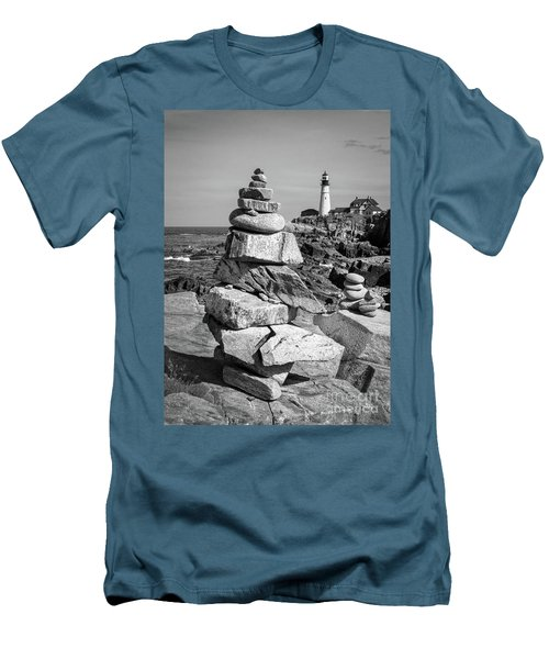 Cairn And Lighthouse  -56052-bw Men's T-Shirt (Slim Fit) by John Bald