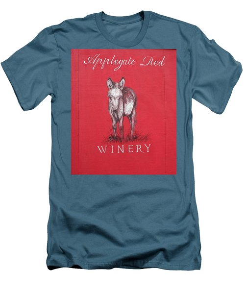 Men's T-Shirt (Slim Fit) featuring the photograph Call Me Applegate Red by Marie Neder