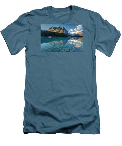 Calm Lake Louise Reflection Men's T-Shirt (Slim Fit) by Pierre Leclerc Photography