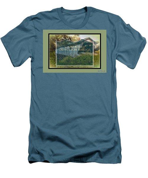 Men's T-Shirt (Slim Fit) featuring the digital art Cambridge Jct. Bridge History by John Selmer Sr