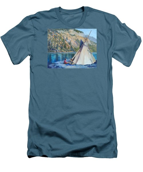 Camp By The Lake Men's T-Shirt (Slim Fit) by Connie Schaertl