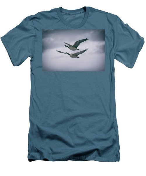 Canadian Geese In Flight Men's T-Shirt (Slim Fit) by Jason Coward