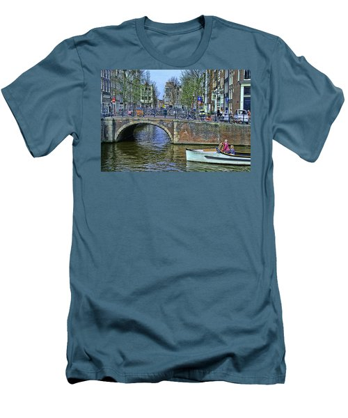 Men's T-Shirt (Slim Fit) featuring the photograph Amsterdam Canal Scene 3 by Allen Beatty
