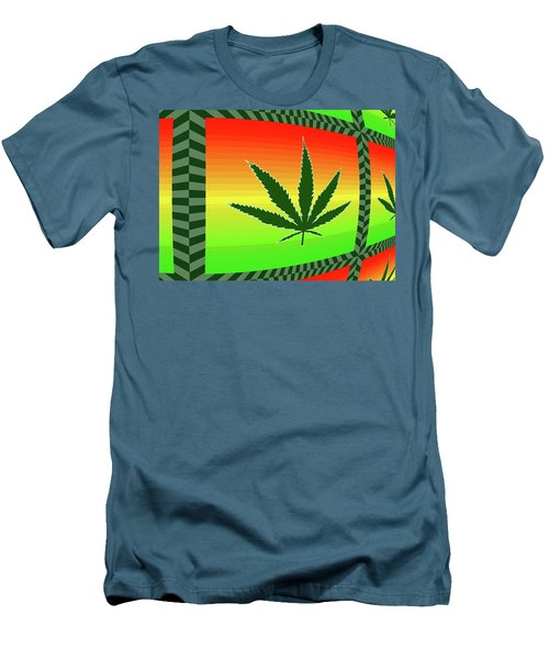 Men's T-Shirt (Slim Fit) featuring the mixed media Cannabis  by Dan Sproul