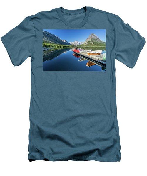 Canoe Reflections Men's T-Shirt (Slim Fit) by Alpha Wanderlust