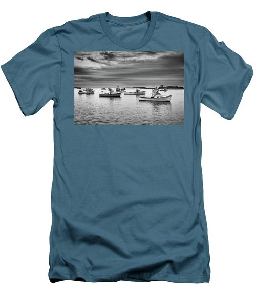 Men's T-Shirt (Athletic Fit) featuring the photograph Cape Porpoise Harbor In Black And White by Rick Berk