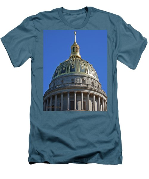 Capitol Dome Charleston Wv Men's T-Shirt (Slim Fit) by DigiArt Diaries by Vicky B Fuller
