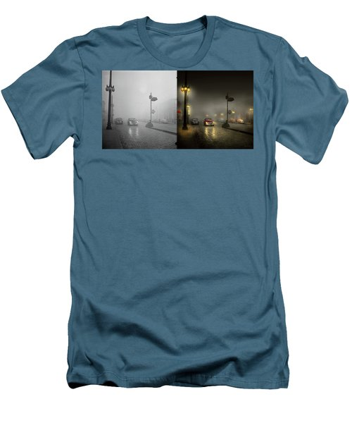 Men's T-Shirt (Slim Fit) featuring the photograph Car - Down A Lonely Road 1940 - Side By Side by Mike Savad