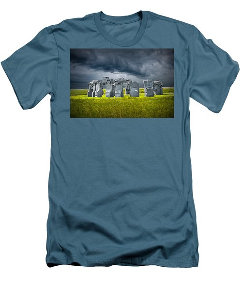 Car Henge In Alliance Nebraska After England's Stonehenge Men's T-Shirt (Slim Fit) by Randall Nyhof