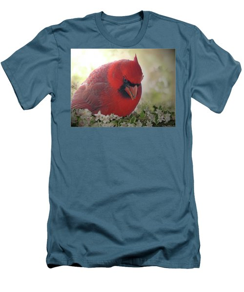 Men's T-Shirt (Slim Fit) featuring the photograph Cardinal In Flowers by Debbie Portwood
