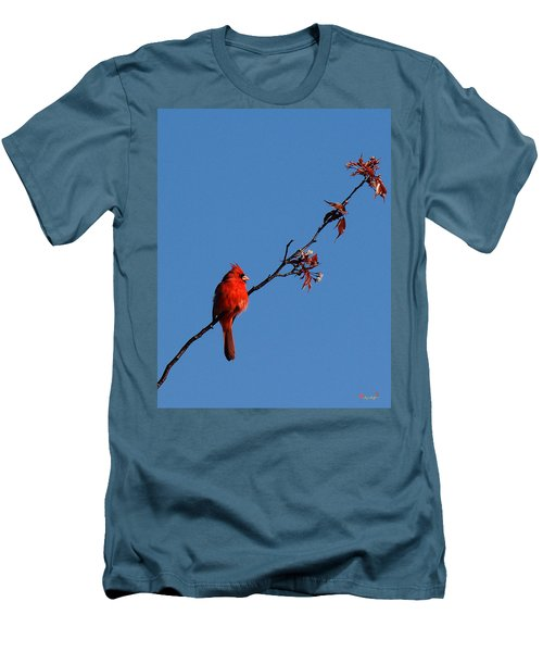 Men's T-Shirt (Slim Fit) featuring the photograph Cardinal On A Cherry Branch Dsb033 by Gerry Gantt