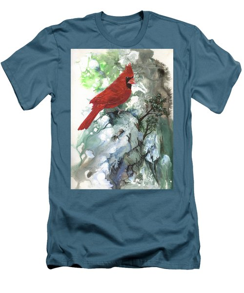 Men's T-Shirt (Slim Fit) featuring the painting Cardinal by Sherry Shipley