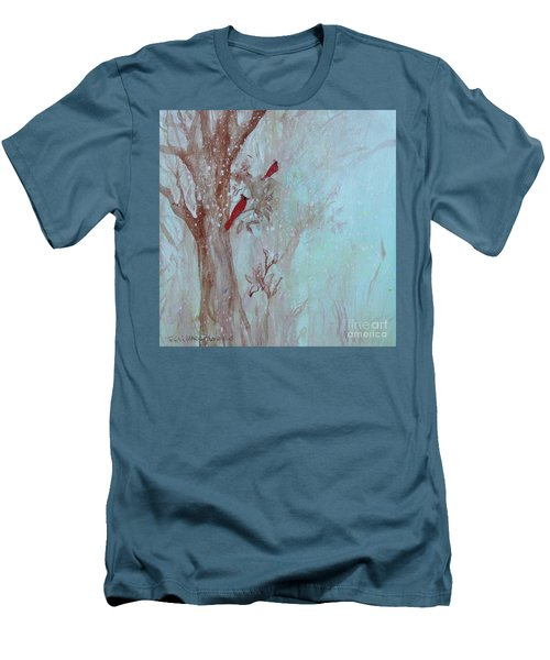 Men's T-Shirt (Athletic Fit) featuring the painting Cardinals In Trees Whilst Snowing by Robin Maria Pedrero