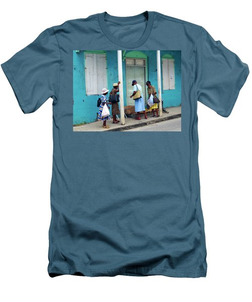 Men's T-Shirt (Slim Fit) featuring the photograph Caribbean Blue, Speightstown, Barbados by Kurt Van Wagner