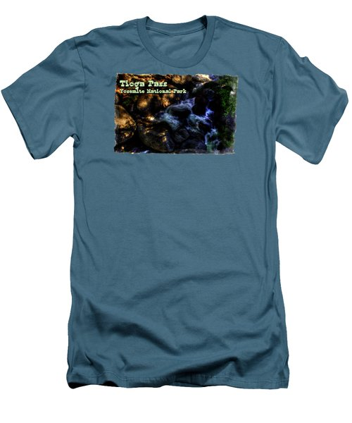 Cascade Along The Tioga Pass Yosemite Men's T-Shirt (Slim Fit) by Roger Passman