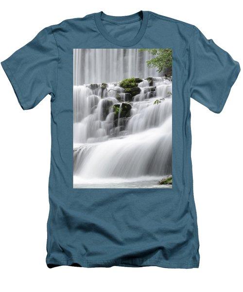 Cascading Mirror Lake Falls Men's T-Shirt (Slim Fit) by Renee Hardison