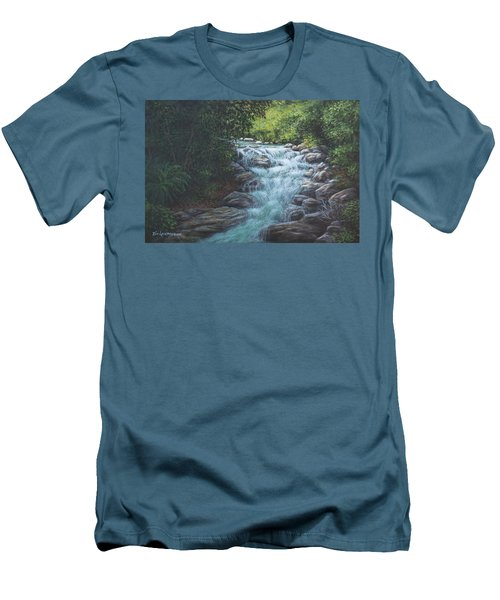 Men's T-Shirt (Slim Fit) featuring the painting Cascading Stream by Kim Lockman