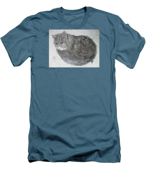 Men's T-Shirt (Slim Fit) featuring the mixed media Cat Named Shrimp by AJ Brown