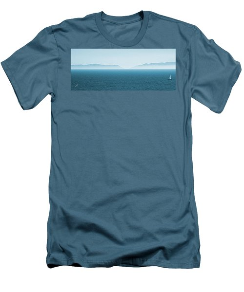 Catalina Island Large Panoramic Color Fine Art Print On Metal Men's T-Shirt (Slim Fit) by Ben and Raisa Gertsberg
