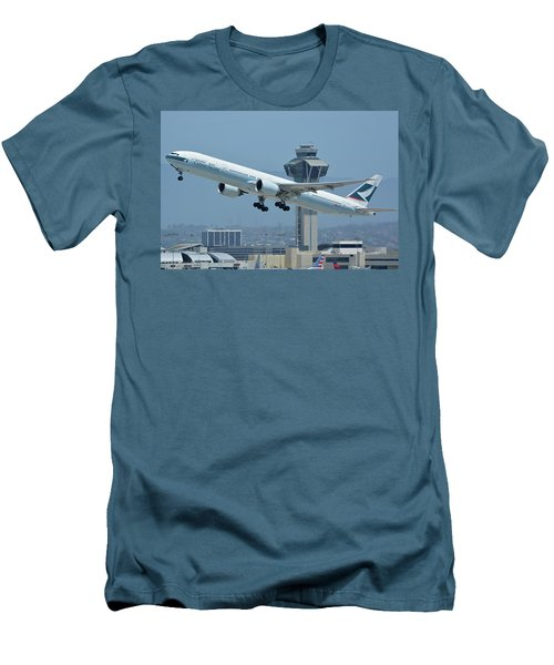 Men's T-Shirt (Slim Fit) featuring the photograph Cathay Pacific Boeing 777-367er B-kph Los Angeles International Airport May 3 2016 by Brian Lockett