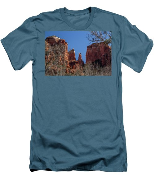 Men's T-Shirt (Slim Fit) featuring the photograph Cathedral Rock View by Roger Mullenhour