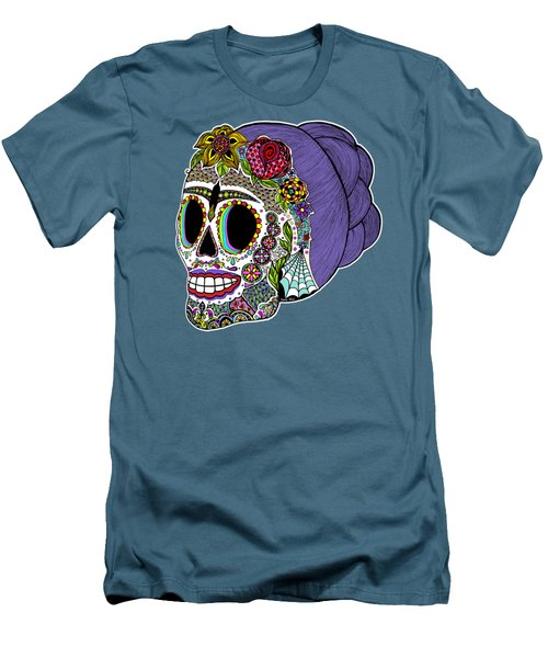 Men's T-Shirt (Slim Fit) featuring the drawing Catrina Sugar Skull by Tammy Wetzel