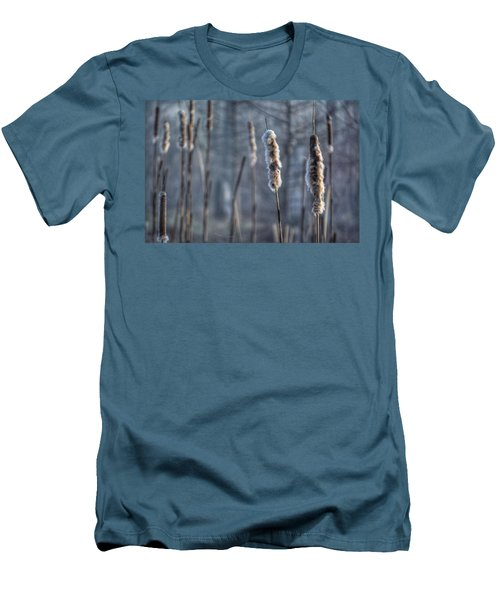 Men's T-Shirt (Slim Fit) featuring the photograph Cattails In The Winter by Sumoflam Photography
