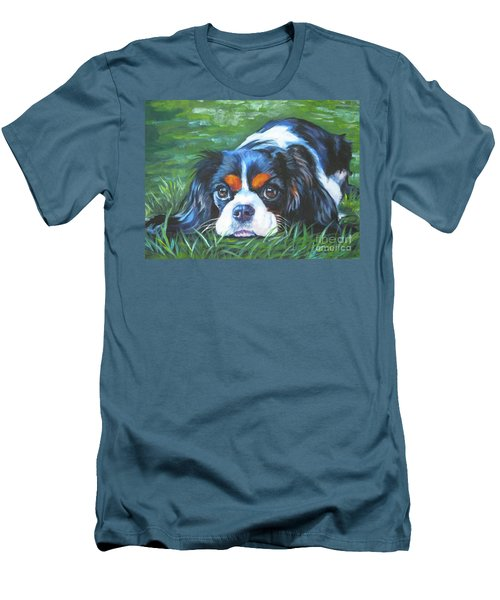 Cavalier King Charles Spaniel Tricolor Men's T-Shirt (Slim Fit) by Lee Ann Shepard