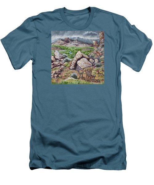 Men's T-Shirt (Slim Fit) featuring the painting Cedar Breaks View With Mule Deer by Dawn Senior-Trask