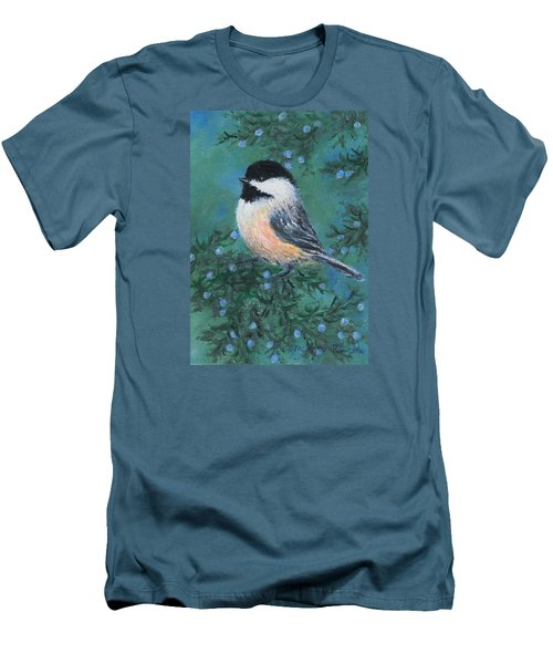 Men's T-Shirt (Slim Fit) featuring the painting Cedar Chickadee 2 by Kathleen McDermott