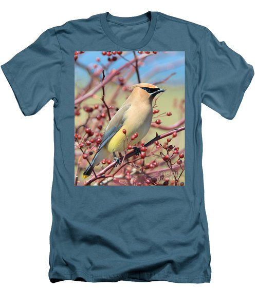 Men's T-Shirt (Athletic Fit) featuring the photograph Cedar Waxwing by Debbie Stahre