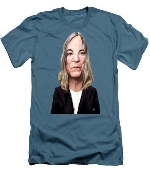 Men's T-Shirt (Slim Fit) featuring the drawing Celebrity Sunday - Patti Smith by Rob Snow