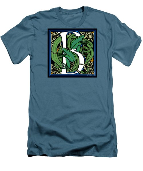 Men's T-Shirt (Slim Fit) featuring the digital art Celt Frogs Letter B by Donna Huntriss