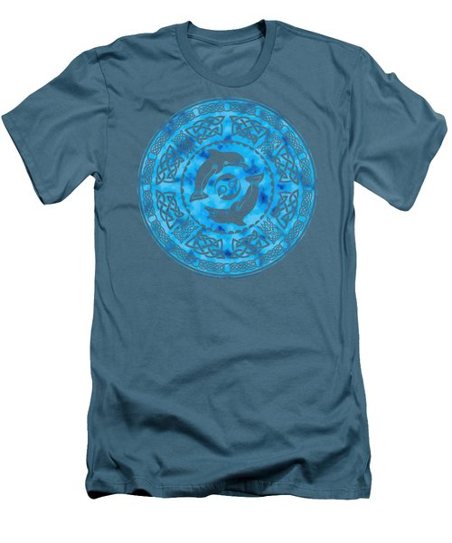 Men's T-Shirt (Slim Fit) featuring the mixed media Celtic Dolphins by Kristen Fox