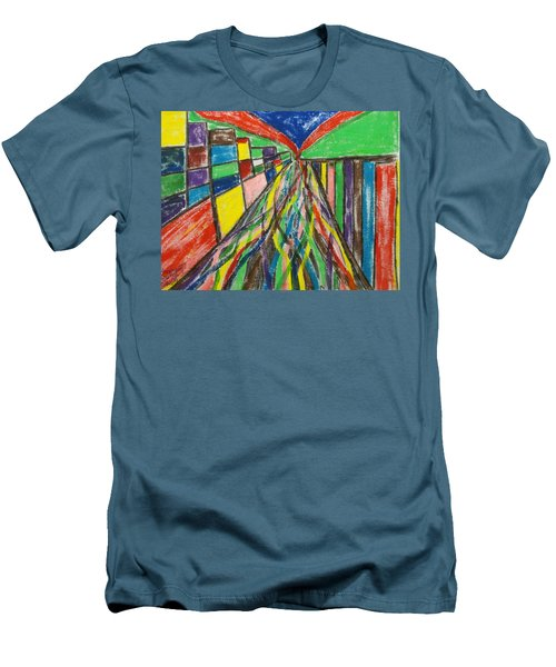Men's T-Shirt (Slim Fit) featuring the painting Central Hill - London Sw19 by Mudiama Kammoh