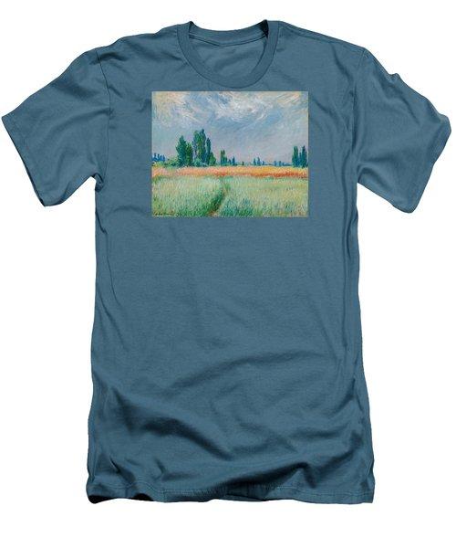 Men's T-Shirt (Slim Fit) featuring the painting Champ De Ble by Claude Monet