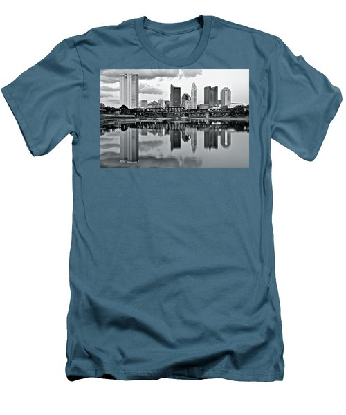 Charcoal Columbus Mirror Image Men's T-Shirt (Slim Fit) by Frozen in Time Fine Art Photography