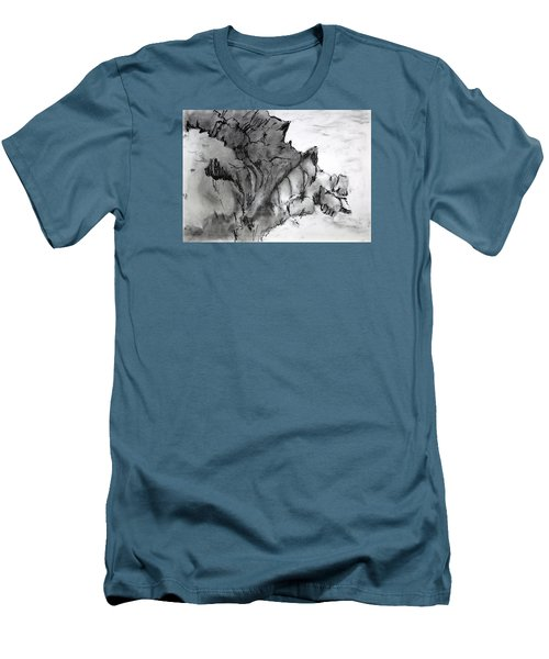 Charcoal Sea Rocks Men's T-Shirt (Athletic Fit)